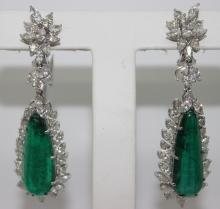 18Kt WG 26.28ct Emerald & 8.90ct Diamond Earrings