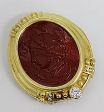 Judith Ripka 18Kt YG Intaglio Cut Diamond Pendant