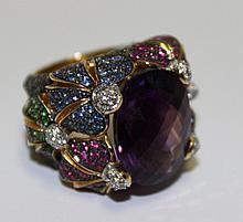 18Kt YG Amethyst, Diamond & Sapphire Ring