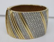 Stunning 2.5ct 14Kt YG Italian Cuff Bracelet