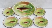 11 Pc. C. 1890 Limoges Hand Painted Fish Plates