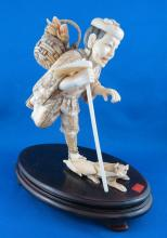 Late 19th C. Carved Ivory Okimono Farmer Figurine
