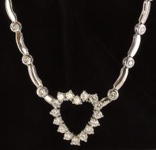 Contemporary 14K White Gold & Diamond Heart Necklace