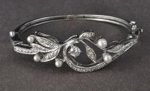 1950's Victorian-Style Cultured Pearl & Diamond Bangle Bracelet