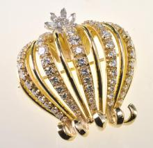 Very Fine 18K Yellow Gold Diamond Crown Brooch / Pendant