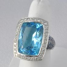Fabulous Contemporary 18k White Gold, Diamond, Sapphire & Blue Topaz Ring