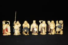 7 Pc. Chinese Carved Ivory Polychrome Figures