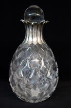 19th C. Crystal & Sterling Top Decanter