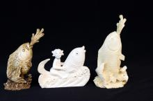 3 Pc. Chinese Carved Ivory Fish Snuff Bottles