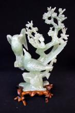 Chinese Carved Jade Bird Group