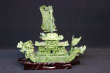 Chinese Carved Spinach Jade Boat