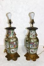 Pair of Antique Chinese Rose Medallion & Dore Bronze Lamps