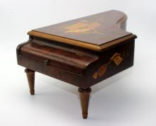 Vintage Reuge Marquetry Burlwood Piano Music Box