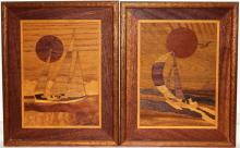 Pair of Marquetry Nautical Wood Art Frames