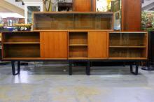 George Nelson for Herman Miller Sliding Glass Cabinets on Slat Bench