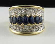 14Kt YG Sapphire & Diamond Ring