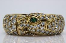 Cartier 18Kt YG 1.40ct. Diamond & Emerald Ring