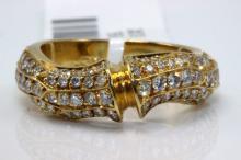 Cartier 18Kt YG 0.85ct. Diamond Bamboo Ring