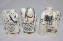 3 Pc. Chinese Carved Polychrome Ivory Netsuke's