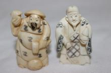 2 Pc. Chinese Carved Polychrome Ivory Netsuke's