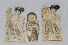 3 Pc. Chinese Carved Polychrome Ivory Figures