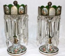 Pair of Bohemian Green Hand Painted Glass Girondles