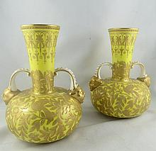 Pair of Royal Worcester Gilt Vases