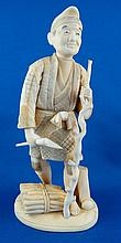 Late 19th C. Japanese Carved Ivory Okimono Farmer Figurine