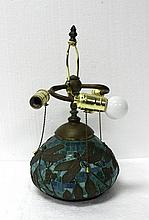 Tiffany Studios Style Art Glass Dragon Fly Lamp