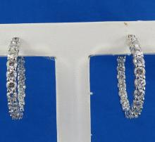 14Kt WG 5.40ct Diamond Hoop Earrings