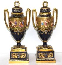 Pair of Royal Vienna Hand Painted Porcelain Covered Vases
