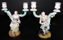Pair of Meissen Hand Painted Figural Porcelain Candle Holders