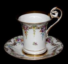 Dresden Hand Painted Floral Porcelain Cup & Saucer