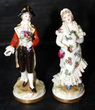 Pair of European Hand Painted Porcelain Figures