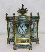 Enamel Champleve Mantle Clock