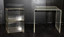 Lucite Table & Plexi Glass Shelf