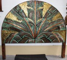 Half Round Embossed Metal Headboard w/ Palm Leaf Motif