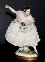 German Hand Painted Porcelain Figure of Dancer