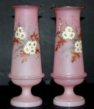 Pair of Hand Painted Floral Pink Moser Glass Vases