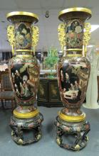 Pair of Palace Size Oriental Hand Painted Vases