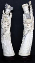 Pair of Chinese Carved Ivory God & Goddess