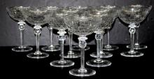 12 Finely Etched Oversized Crystal Champagne Glasses