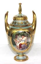Royal Vienna Gilt Hand Painted Covered Vase