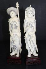 Pair of Chinese Hand Carved Ivory Warriors