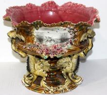 Beautiful Majolica Hand Painted Centerpiece