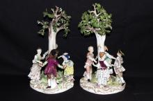 Pair of Meissen Hand Painted Porcelain Tree Groups