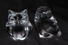 Two Signed Crystal Paperweights