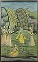 20th Century Indian Painting on Cotton Fabric Depicting Krishna in a Garden Scene. Unsigned. Small Tear to Fabric Top Center and Side Edge Otherwise Good Condition. Measures 49-1/2 Inches Tall and 30-1/4 Inches Wide, Frame Measures 52 Inches Tall and