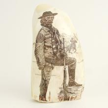 Scrimshaw Whales Tooth Signed By Becky Wilson. Depicts a Cowboy Frontiersman.