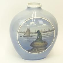 Large Royal Copenhagen Vase. Signed with wave mark (double slash).